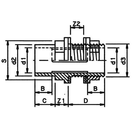 műanyag tartály csatlakozó PVC-U külső menetes (BSP) ragasztható tokkal és toldattal méretezett ábra