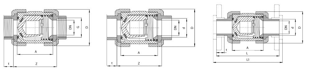 Praher PP PN10 S4 visszacsapó szelep méretezett ábra